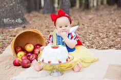 Snow White inspired cake smash session first birthday photo shoot | Baby turns one | Disney Princess Child Photo | Belle | Snow White | Cinderella | Addison Turns One! | Tiffany Ellis Photography | Camden South Carolina Wedding Photographer Columbia South Carolina