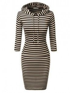 Attractive Striped Hooded Bodycon-dress