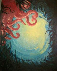 Octopus acrylic painting by loreleijoanna
