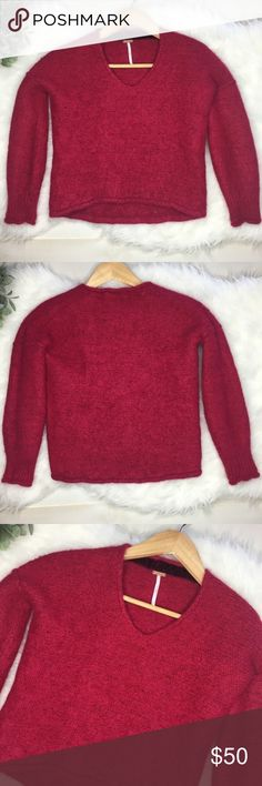 Free People Pink Sweater Size XS Like new condition.Free People Cropped Fussy Sweater. Worn once. Size XS. 50% Cotton, 45% Alpaca and 5% Nylon. Color is Fuchsia. Soft and gorgeous. Free People Sweaters