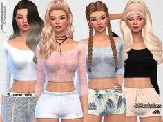 Cute Sporty Everyday Tops - The Sims 4 Catalog Sims 4 Mods Clothes, Sims 4 Clothing, Sims Mods, Free Clothes, Clothes For Women, The Sims 4 Cabelos, Sims Free Play, Sims 4 Gameplay, Sims 4 Teen