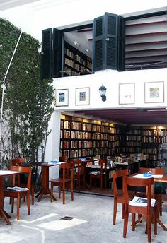 Library cafe, Crack Up, Palermo, Buenos Aires Palermo, Book Cafe, Argentine Buenos Aires, Library Cafe, Coffee Shop Design, Argentina Travel, Coffee And Books, Cafe Bar, South America