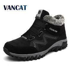 VANCAT Men Boots Winter With Fur 2018 Warm Snow Boots Men Winter Boots Work  Shoes Men 8c9781b1f814