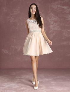 4bc731f48 Short Homecoming Dress Nude Chiffon Backless Prom Dresses Lace Beading Sash  A Line Mini Graduation Dress