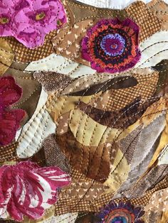"""Learn why and how to use glue when making a collage quilt or art quilt. Emily Taylor demonstrates her method for creating the """"Adoration"""" collage quilt. Collage Landscape, Landscape Quilts, Flower Collage, Collage Art, Collage Ideas, Quilting Designs, Art Quilting, Quilt Art, Quilting Tips"""