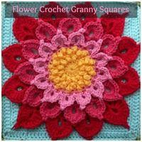 34 Flower Crochet Granny Squares