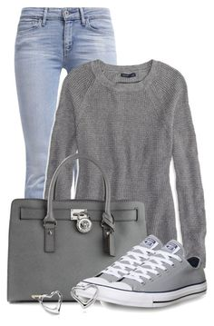 I am a t-shirt and jean gilr. Love the gray color Not the style of purse. A fashion look from February 2015 featuring American Eagle Outfitters sweaters, Levi's jeans and Converse sneakers. Browse and shop related looks. Converse Outfits, Jeans And Converse, Converse Sneakers, Gray Sneakers Outfit, Gray Converse, Jeans And T Shirt Outfit, Wedge Sneakers, Mode Outfits, Fashion Outfits