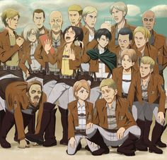 """Shingeki no Kyojin (Attack on Titan)"" fan art without 3-D gear. Rico Brzeńska Zoe Hanji Erwin Smith Mike Zacharias Petra Ral Nanaba Levi Pixis and others"