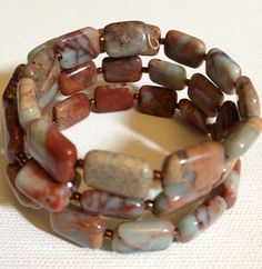 4 strand jasper memory wire bracelet