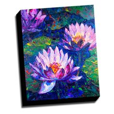 Lotus Flower 16x20 Painting Printed on Framed Ready to Hang Canvas