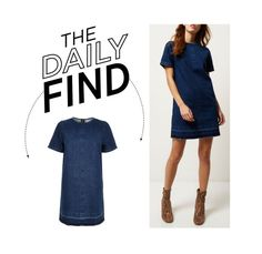"""""""The Daily Find: River Island Denim Dress"""" by polyvore-editorial ❤ liked on Polyvore featuring River Island, women's clothing, women's fashion, women, female, woman, misses, juniors and DailyFind"""