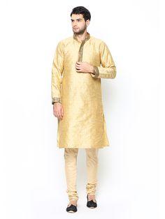 Buy Manyavar Men Cream Coloured Kurta Pyjama - 596 - Apparel for Men from Manyavar at Rs. 1999