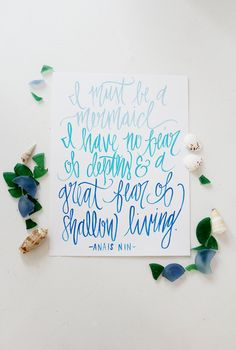 I Must Be A Mermaid  Hand Lettered Calligraphy by ShannonKirsten, $28.00