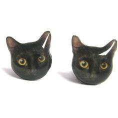 Cute Black Cat Kitten Stud Earrings - A14E84 Mad e To Order