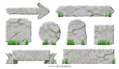 Set of isolated labels, arrows and ribbons in an illustrated rock texture with some grass.