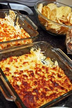 Chicken Wing Dip  16 oz cream cheese  3/4 cup Franks Red Hot Buffalo Sauce  1 cup ranch dressing  2 cup shredded chicken  2 1/2 cup shredded cheddar cheese  1- Stir cream cheese and hot sauce until blended  2-Mix ranch, chicken, and 1 cup of cheese  3-Spread in a 9x13 dish and top with remaining cheese  4-Bake for 30 mins at 350 and serve with tortilla chips