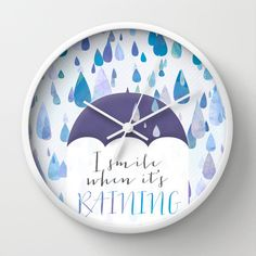 Happy Raindrops Wall Clock April Showers Clock by NoondaybyTracey