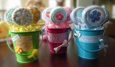 Washcloth Lollipop Pail  Unique Baby Shower Gifts and por BabyBinkz,