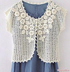 Beautiful crochet Irish Lace (on yoke) bolero or vest! Pull Crochet, Gilet Crochet, Crochet Yoke, Crochet Cardigan, Irish Crochet, Crochet Patterns, Crochet Woman, Irish Lace, Crochet Instructions