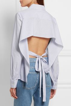 TOME | Open-back striped cotton-poplin shirt | NET-A-PORTER.COM