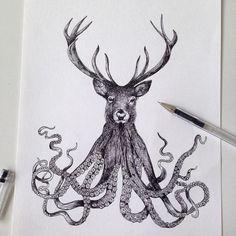 Octopus Deer illustration ink ©Alfred Basha