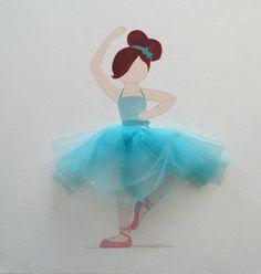 Ballerina Teal on Canvas Ballerina Art Ballerina by LetsPretendArt