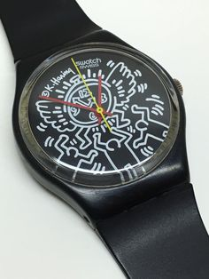 This is a rare vintage Keith Haring designed Swatch Watch known as Blanc Sur Noir GZ104 from the 1985 Spring Summer Collection. This watch is