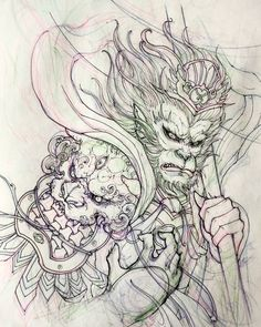 "2,838 Likes, 14 Comments - David Hoang (@davidhoangtattoo) on Instagram: ""Monkey king sketch. #monkeyking #sketch #illustration #drawing #irezumi #tattoo #asiantattoo…"""
