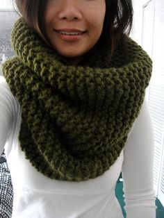 Hope Chunky Rib Infinity Cowl Scarf Moss Green by LuluLuvs on Etsy