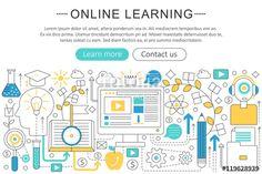 ベクター: Vector elegant thin line flat modern Art design E-learning online education concept. Website header banner elements layout. Presentation, flyer and poster.点