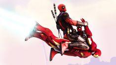 Deadpool borrows ironman suit. #deadpool #crazy #marvel #guyinred #ninja #chimichangas #mercwithamouth