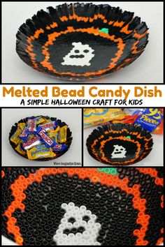Melted Bead Halloween Candy Dish Craft for Kids! A fun and creative Halloween craft preschoolers and school-agers can make! This festive Halloween candy bowl craft makes a fun family keepsake too that you can pull out ever October! Halloween Candy Bowl, Fun Halloween Games, Halloween Beads, Halloween Festival, Halloween Crafts For Kids, Halloween Diy, Crafts To Make, Craft Activities For Kids, Preschool Activities