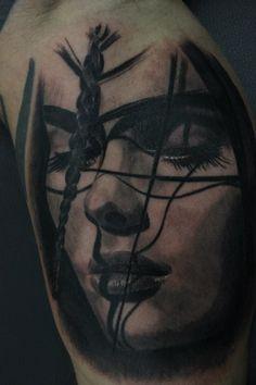 TATTOO REALISM, black & grey, Maria Maddalena, Mary Magdalene