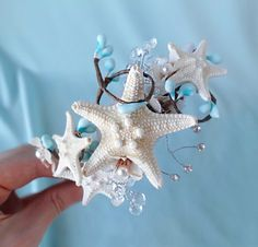 seashell wedding headband, starfish headpiece, bridal headband, aqua blue, beach wedding - SERENITY - ocean hair accessories. $70.00, via Etsy.