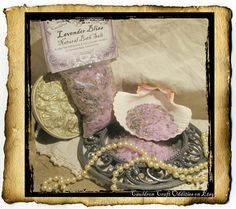 """Lavender Bliss natural bath salts- large 3"""" x 5"""" bag holding 4 oz $4! Blend of natural sea salt, organic essential oil, & ultra blue lavender buds. Pour into a warm bath for a steaming herbal soak or wet a bit in your hand to scrub your dry bits. Excellent for a foot soak as well. Lavender is very calming and helps soothe chapped skin. Lovely before bedtime."""