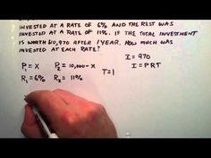 Simple Interest Story Problem , Intermediate Algebra , Lesson 45