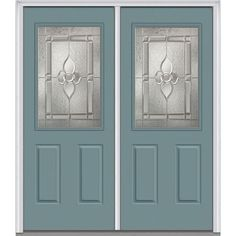 Milliken Millwork 74 in. x 81.75 in. Master Nouveau Decorative Glass 1/2 Lite 2 Panel Painted Fiberglass Smooth Exterior Double Door, Riverway