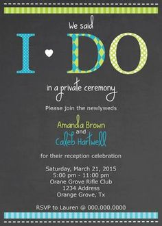 5x7 I Do Reception Only Wedding Invitation Print At Home