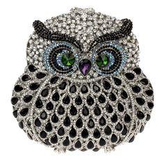Luxo frete grátis coruja forma cristais completa chapeado liga de zinco Metal mulheres garras noite qualidade superior strass noivas saco