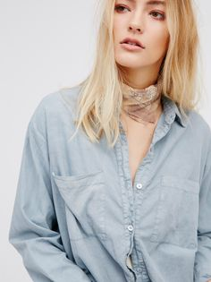 FP Safa Poplin Slouchy Fit Casual Classic Buttondown (Chambray)