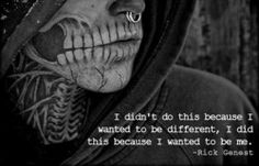 """Beautiful Quote from Rick Genest"" Yes, i usually don't like tattoos this much (even a sleeve can be so much..well it depends), but this is art !!"