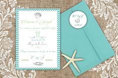 Esta invitación es perfecta para una boda en la playa. Diseñamos las invitaciones, sellos y papelería para tu boda. Estamos en Mallorca, España. www.shparties.com