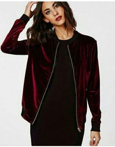 This sporty stretch burgundy jacket with contrast ribbed collar and cuffs and a blingin gold zip is luxe street wear at its best. It doesnt get more on trend for the new season than this velvet touch velour zip up bomber jacket. Style you. Mode Chic, Mode Style, Style Me, Velvet Bomber Jacket, Red Velvet Jacket, Velvet Fashion, Mode Inspiration, Streetwear, Ideias Fashion