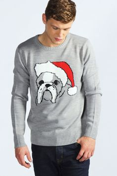 Crew Neck Christmas Dog Sweater