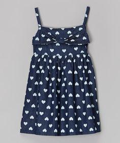 Look at this #zulilyfind! Navy Polka Dot Heart Dress - Toddler & Girls by Liquid Gold Girls #zulilyfinds