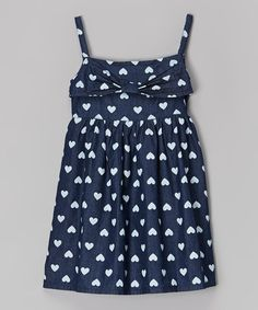 Love this Navy Polka Dot Heart Dress - Infant, Toddler & Girls on #zulily! #zulilyfinds