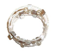 Shell and Pearl Coil Bracelet Memory Wire by BeadoRama123 on Etsy, £6.00