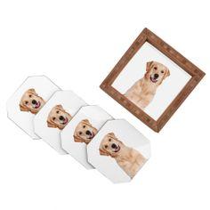 Susan Goddard Golden Retriever Dog On White Coaster Set | DENY Designs Home Accessories #coaster #denydesign #goldenretriever #dog #moderndecor #homedecor