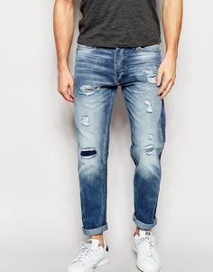 Jack+&+Jones+Light+Wash+Slim+Fit+Rip+&+Repair+Jeans