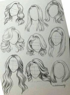 Girl Hair Drawing, Girl Drawing Sketches, Art Drawings Sketches Simple, Pencil Art Drawings, Easy Drawings, Tattoo Sketches, Drawings Of Hair, Hair Styles Drawing, Girl Drawings